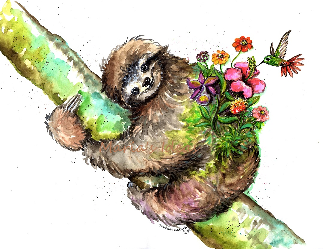 sloth art, moss garden, hummingbird, garden art