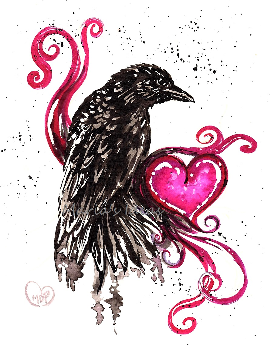 crow art, crow love, crow painting, heart, love, pittsburgh illustrator,