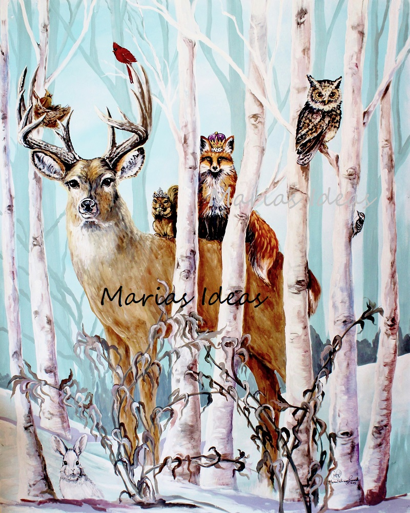 woodland art, woodland animals, deer, animal art, children's book illustrator