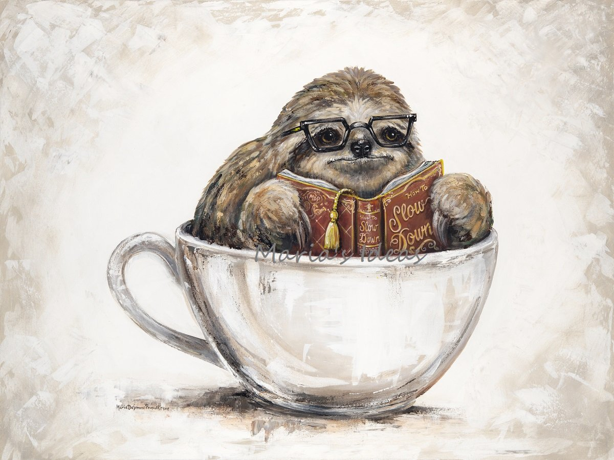 sloth art, bethel park public library, sloth in cup, coffee art, library art, coffee art