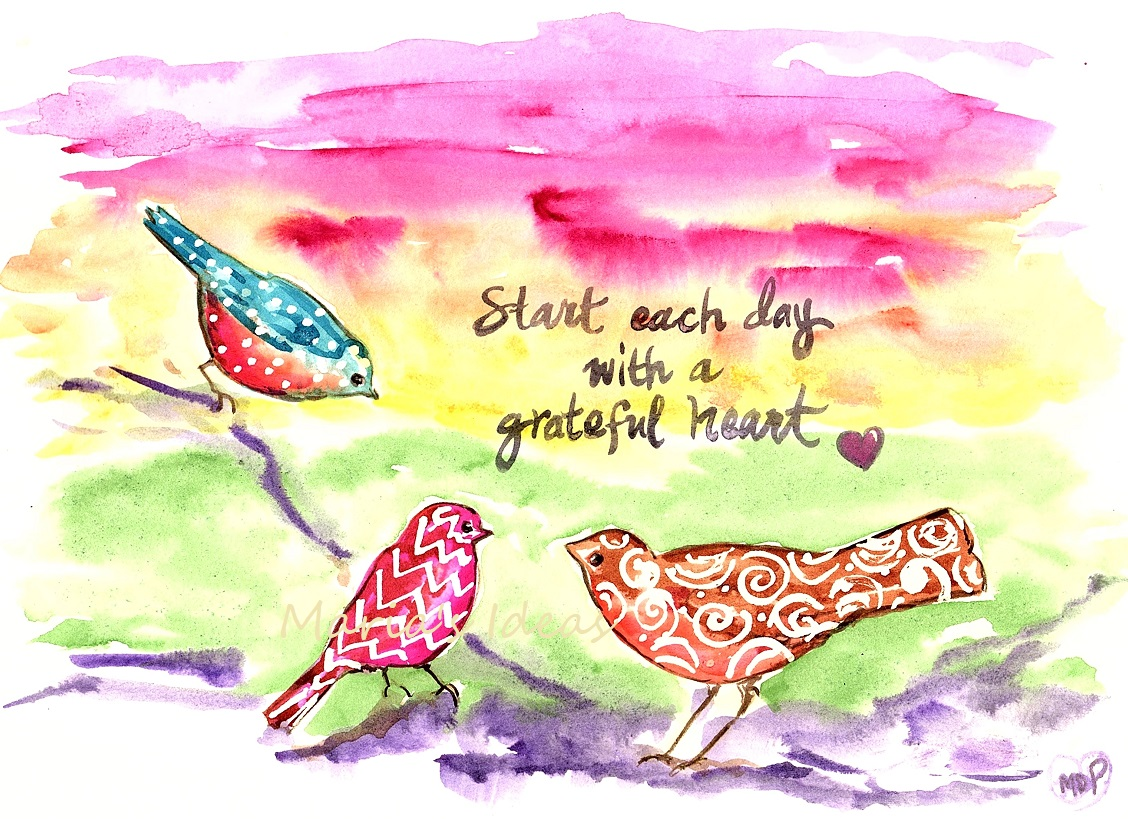 bird art, live each day, grateful, inspirational quotes
