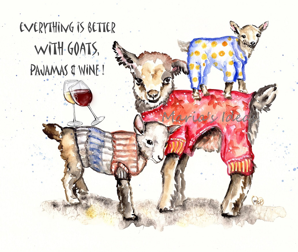 goats in pajamas, goat art, cute goat art, wine, wine art