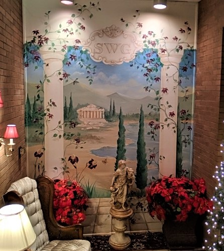 commercial mural, funeral home mural, hand painted murals