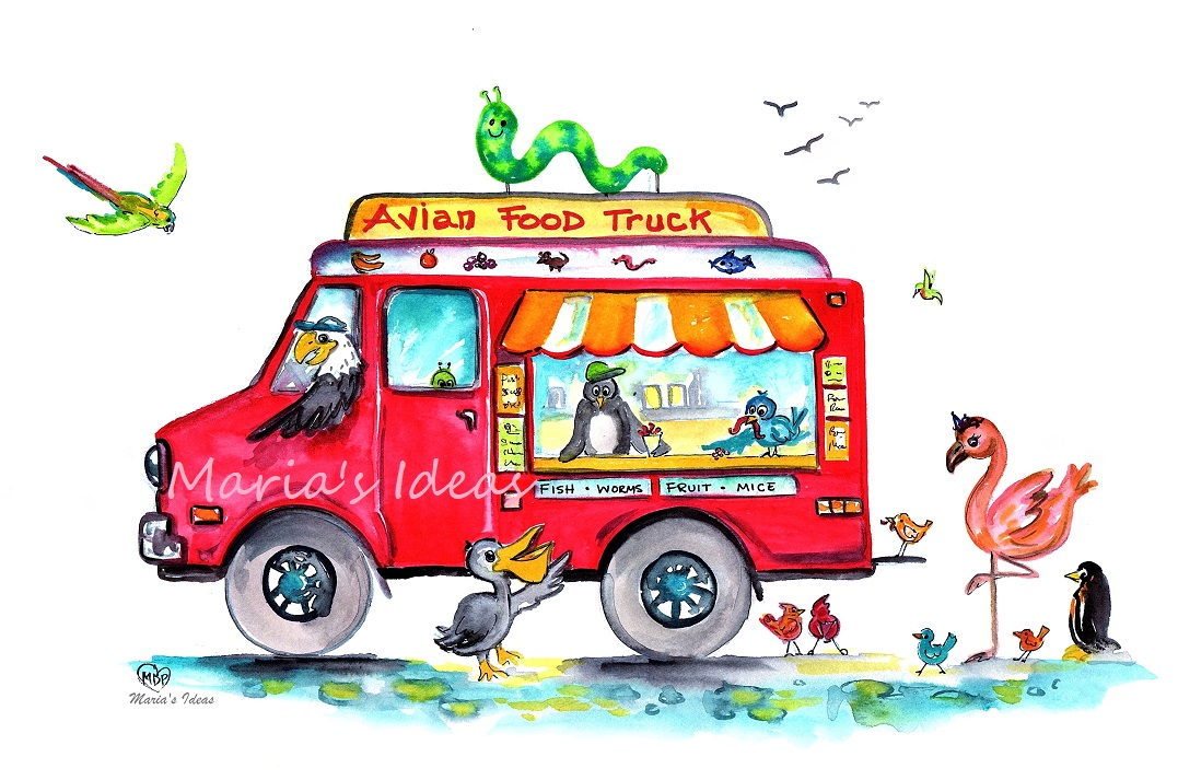 food truck, food truck art, bird art, national aviary, funny bird art