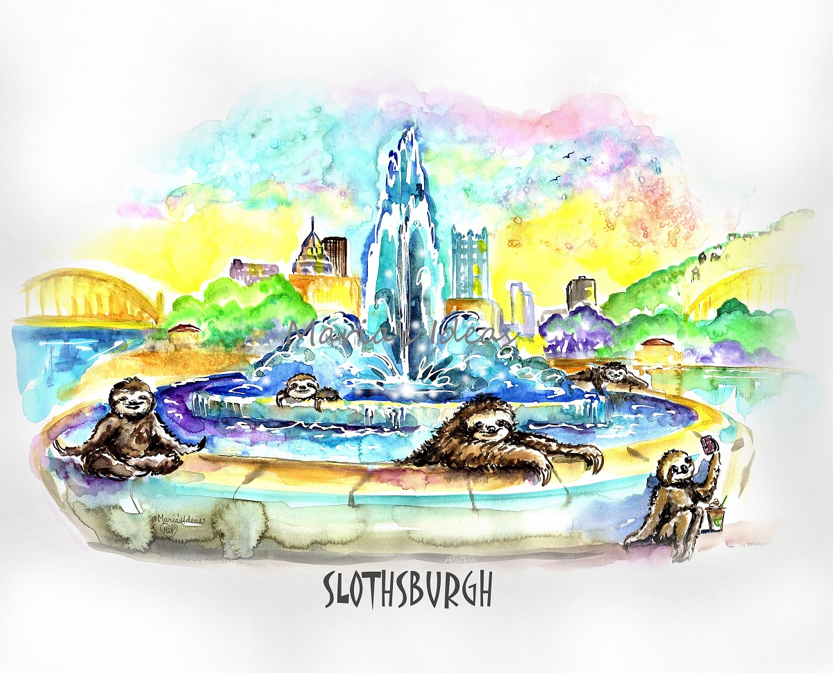 sloth art, pittsburgh art, the point in pittsburgh, pittsburgh art, sloths, fountain art
