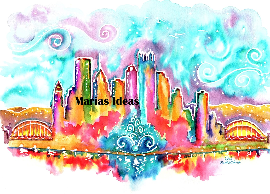 Pittsburgh art, pittsburgh skyline art, whimsical art