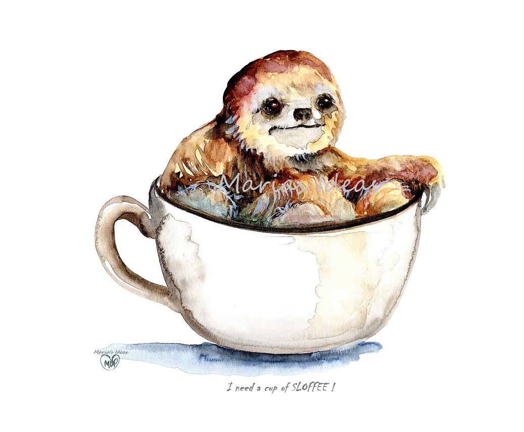 sloth art, cup of slothee, cup of sloffee, sloth in cup