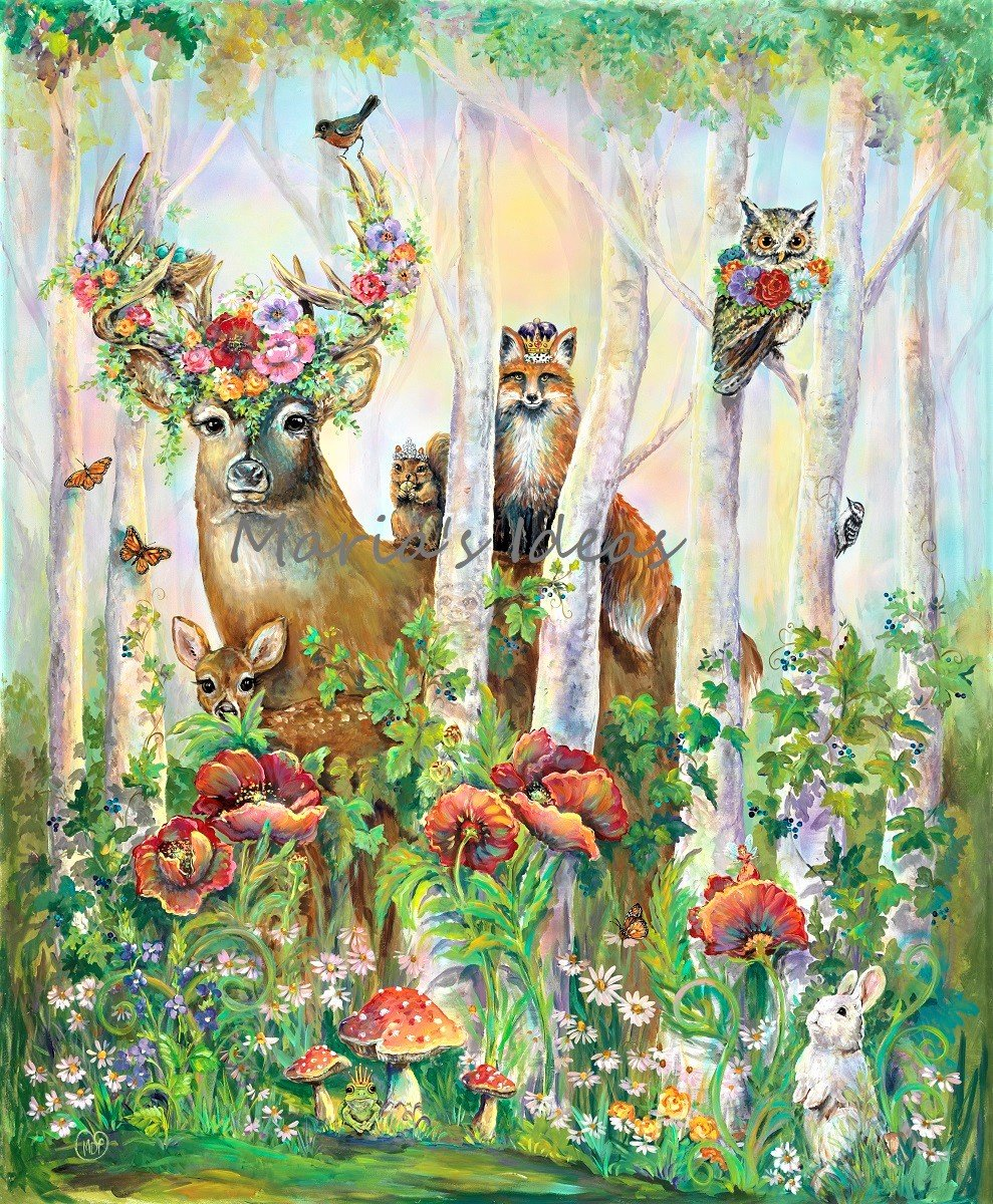 deer, squirrel, woodland animals, garden critters, garden art, kids room art,