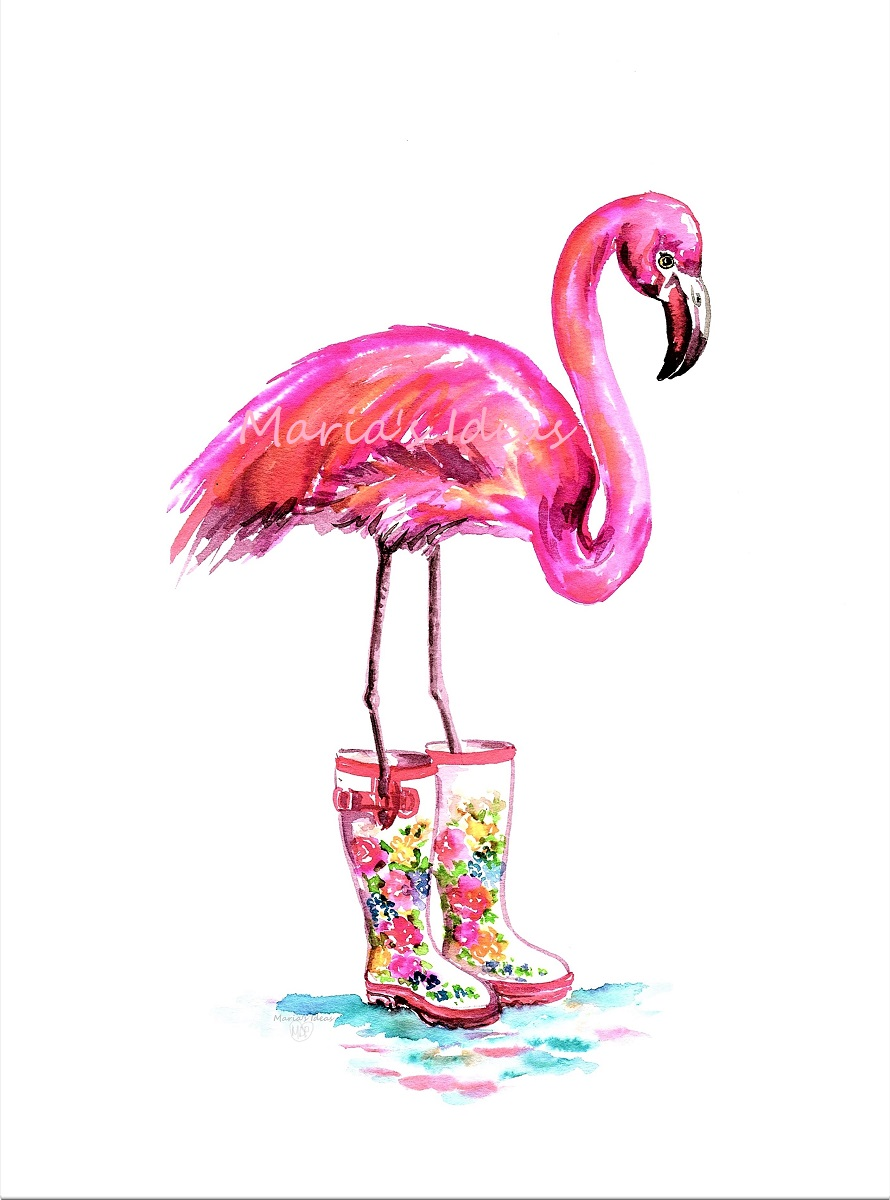 flamingo art, boots, floral boots, flamingo art, pink flamingo
