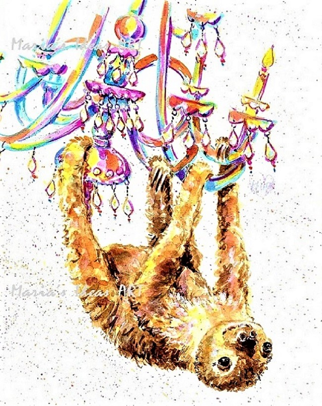 sloth art, sloth hanging, cute sloth art, funny sloth