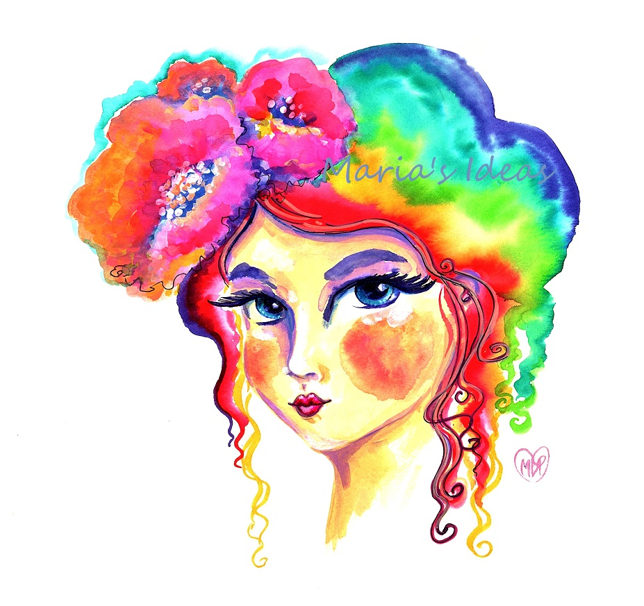 flower girl, watercolor art, rainbow hair
