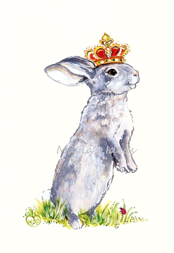 bunny, bunny art, king crown, king art, king bunny