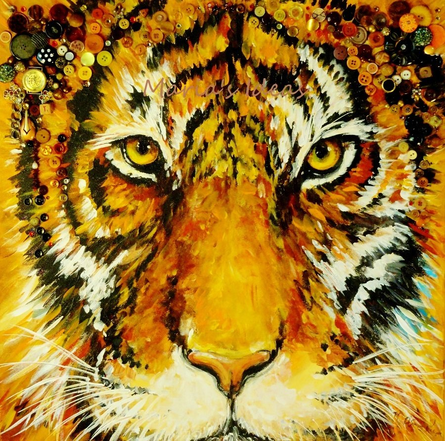 Tiger Eyes mixed media