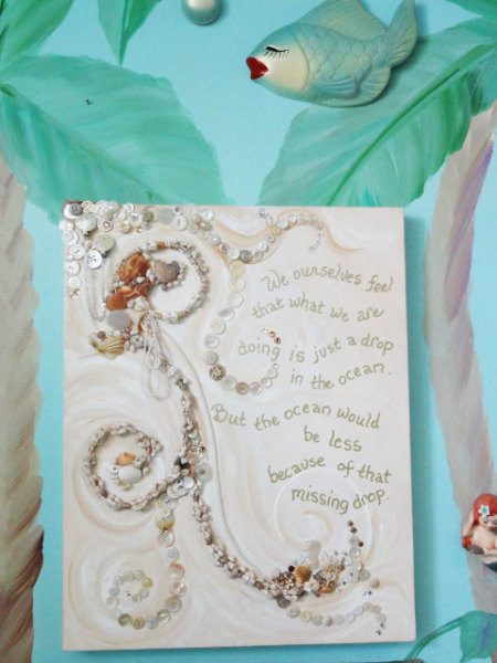 mixed media seashell quote