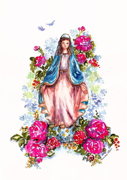 watercolor Blessed Mother
