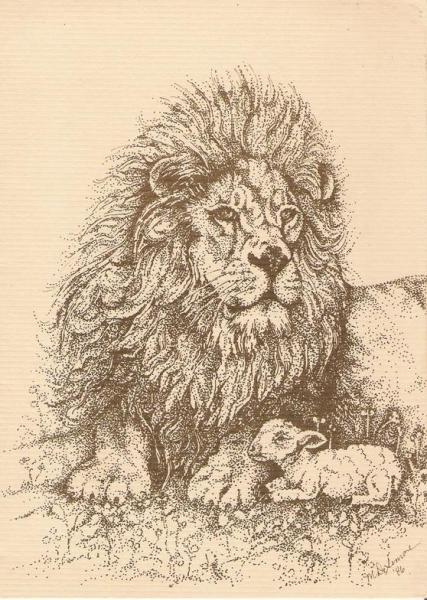 pen and ink Lion and Lamb