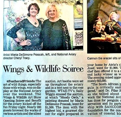 Featured in Post Gazette with  National Aviary