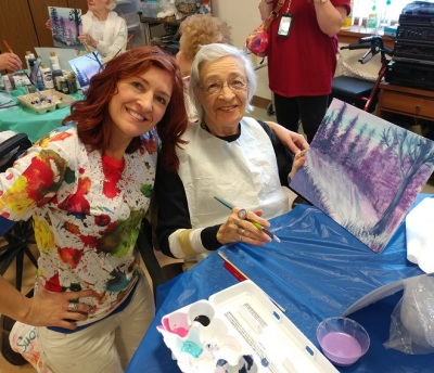 Volunteer teaching paint class at Little sisters of the Poor, Pittsburgh 2018