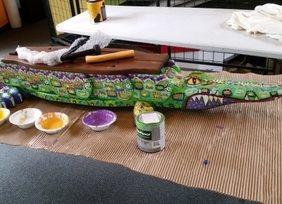 Painted Alligator Drum for Community Day event Pittsburgh Zoo 2015